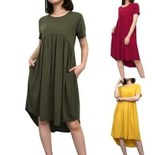 619d9e45287e9 Quick View.  19.43. Women s Summer Short Sleeve High Low Pleated Swing  Loose Casual Midi Dress