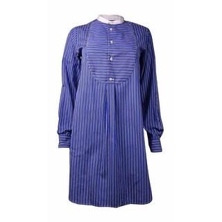 Polo Ralph Lauren Women's Striped Relaxed Fit Shirt Dress (4, Blue/Black) - 4