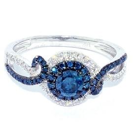 Blue Diamond Engagement Ring 10K White Gold 0.73cttw 9.5mm Wide Swirl (I/j Color 0.73cttw)