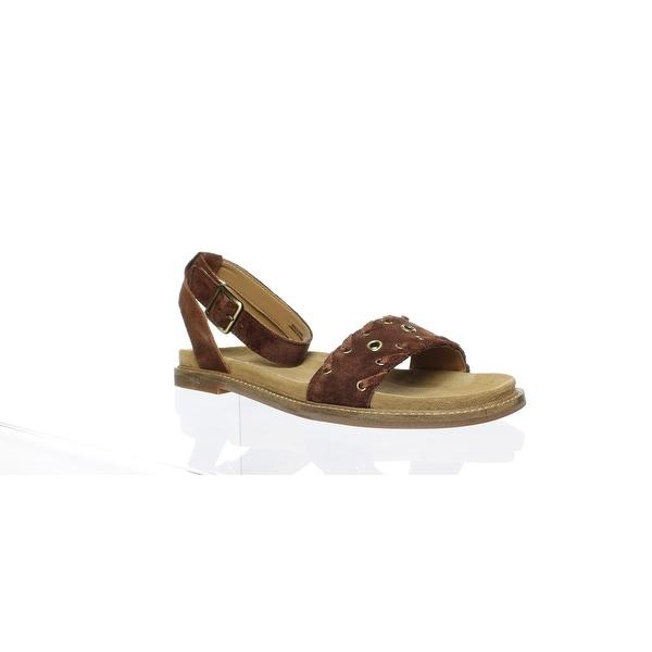 5ac632f28 Shop Clarks Womens Corsio Amelia Dark Tan Suede Ankle Strap Flats ...