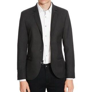 Kenneth Cole Reaction NEW Black Men Size Large L Zip-Front Twill Jacket