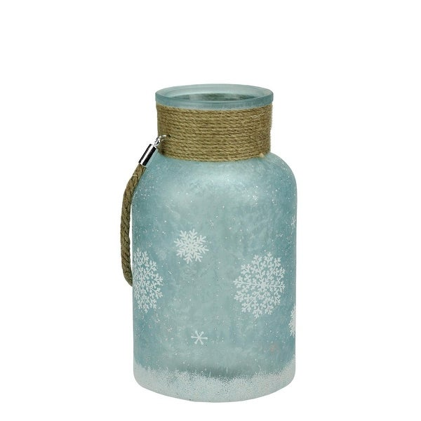 "10"" White and Blue Iced Glittered Snowflake Decorative Pillar Candle Holder Lantern with Handle"