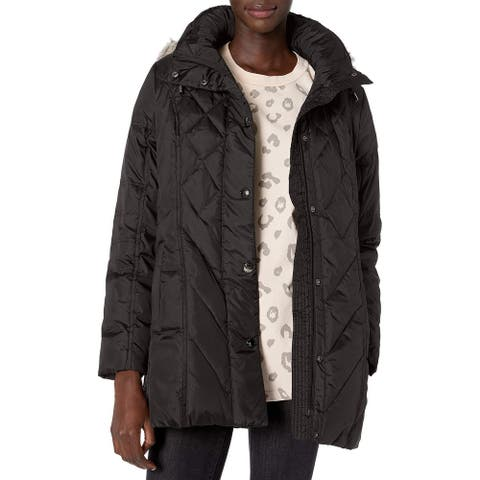 London Fog Women's Jacket Solid Black Size Small S Faux-Fur Quilted