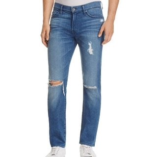 7 For All Mankind NEW Blue Men Size 38X32 Distressed Slim Skinny Jeans