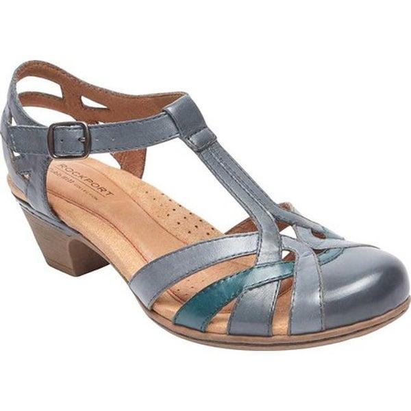Rockport Women's Cobb Hill Aubrey T Strap Sandal Blue Multi Leather