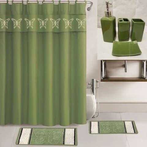 "19Pc Bathroom Set Curtain Ceramic 70"" X 72"" Sage Green Butterfly"