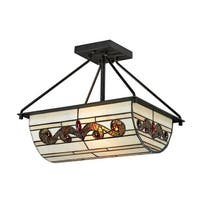 "14"" Matte Coffee Black Cupertino Hand Crafted Glass Semi-Flush Mount Ceiling Light Fixture"