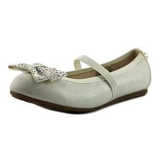 Stuart Weitzman Fannie Jewel Strap Youth Round Toe Synthetic White Flats