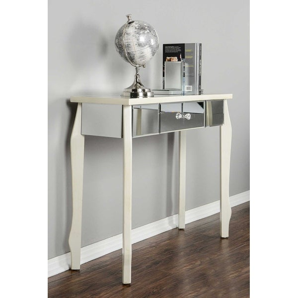 1 Drawer Mirrored Console Table Mdf Wood Gl In Antique White