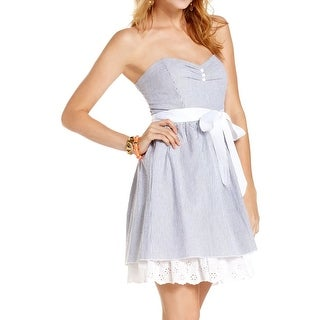 Trixxi Womens Juniors Cocktail Dress Seersucker Strapless - 9