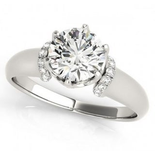 14K White Gold Engagement Ring 1.9ctw 1.7ct Round Solitaire Center Cathedral Style