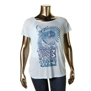Lucky Brand Womens Juniors Casual Top Graphic Hi-Low