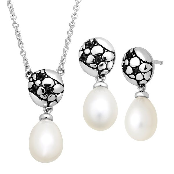 Honora 8-8.5 mm Freshwater Pearl & Black Spinel Earrings & Necklace Set in Sterling Silver