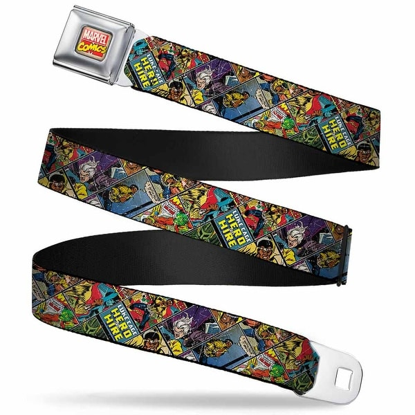 Marvel Comics Marvel Comics Logo Full Color Retro Luke Cage Comic Scene Seatbelt Belt