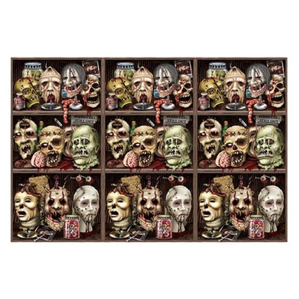 pack of 6 insta theme scary zombie heads halloween wall backdrop party decoration 4