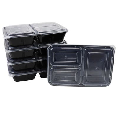 10 Piece 3 Compartment BPA-Free Plastic Meal Prep Containers, Black