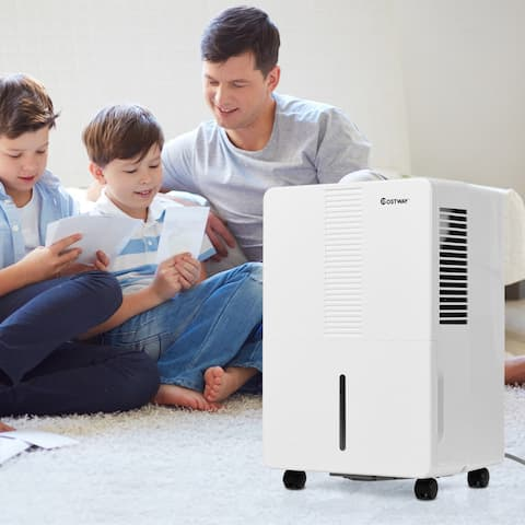 Costway Portable 30 Pint Dehumidifier Humidity Control Up to 1500 Sq.Ft. W/ Fan Wheels