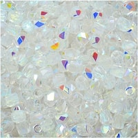 True2 Czech Fire Polished Glass, Faceted Round Beads 2mm, 50 Pieces, Crystal AB
