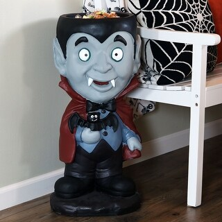 Sunnydaze Count Dracula Halloween Statue with Candy Bowl Dish - 27-Inch
