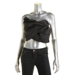 Endless Rose Womens Strapless Bow Crop Top - S