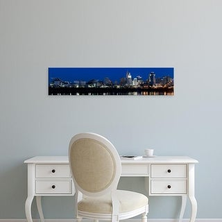 Easy Art Prints Panoramic Images's 'Cincinnati skyline, Suspension Bridge across Ohio River, Hamilton Ohio' Canvas Art