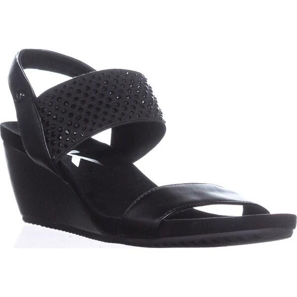 AK Anne Klein Sport Castie Slingback Wedge Sandals, Black - 9 us
