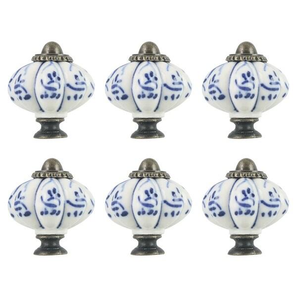 6pcs Ceramic Knobs Vintage Knob Drawer Round Pull Handle Furniture Cupboard Wardrobe Dresser Door Decorative, Blue