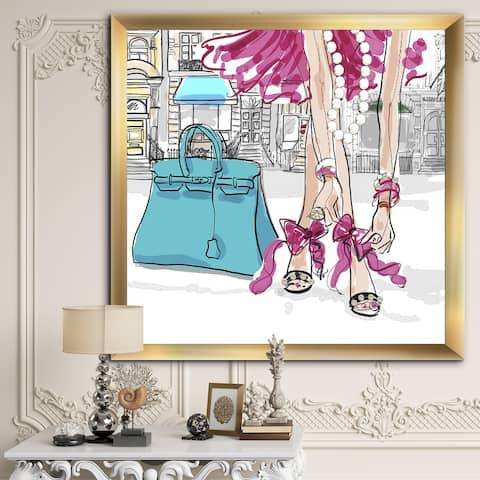 Designart 'Pretty in Pink' Fashion Framed Art Print