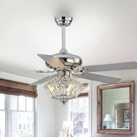 "Safavieh Lighting 52-inch Pramton LED Ceiling Light Fan (with Remote) - 52"" W x 52"" L x 21.5""-26.5"" H"