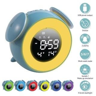 "Sunrise Alarm Clock 5"" LED 7 Color Light Touch Control for Kids Bedroom Blue"