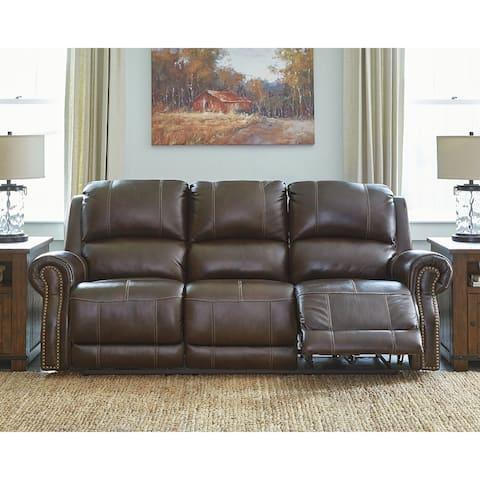 Buncrana Brown Contemporary Power Reclining Sofa with Adjustable Headrest