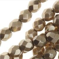 Czech Fire Polished Glass Beads, Faceted Round 6mm, 25 Pieces, Matte Light Gold