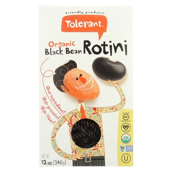 Tolerant Organic Pasta - Black Bean, Rotini - Case of 6 - 12 oz.