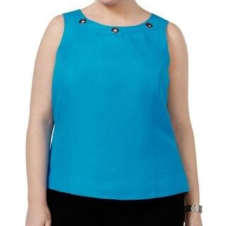 Kasper Grotto Blue Womens Size 18W Plus Grommet-Trim Tank Top