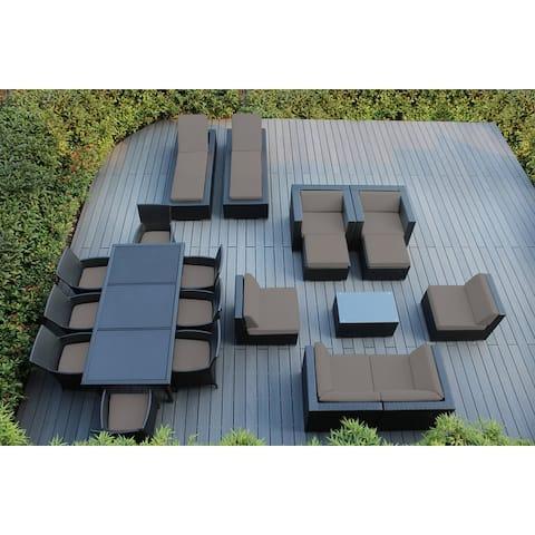 Ohana Black Outdoor Patio 20-piece Wicker Sofa and Dining Set