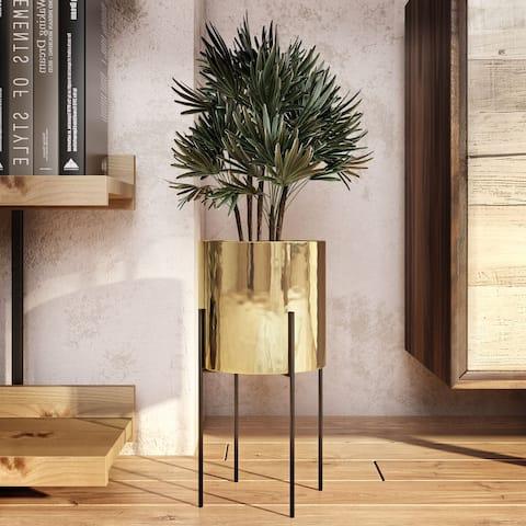 "Lonnie Mid Century Ceramic Planter - Gold - 16.5""H x 8.5""W x 8.5""D (Inside pot: 7.5""H x 8""W)"