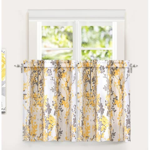 DriftAway Leah Floral Blossom Ink Painting Thermal Room Darkening Kitchen Tier Pair