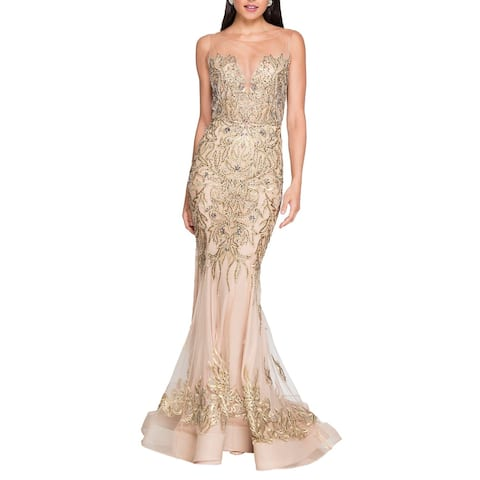 Terani Couture Embellished Prom Trumpet Dress - Nude