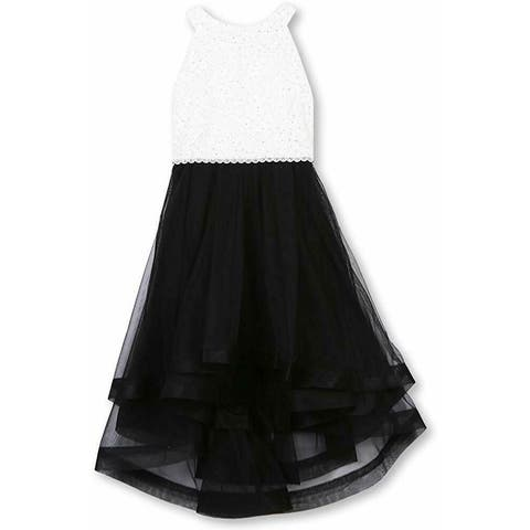 Speechless Girls Dresses Black Size 10 Colorblocked Sequined Lace