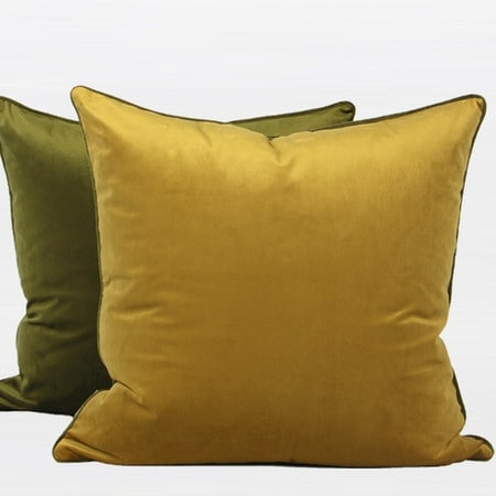 "G Home Collection Luxury Wasabi Green And Yellow Two Color Flannel Fabric Pillow 20""X20"""