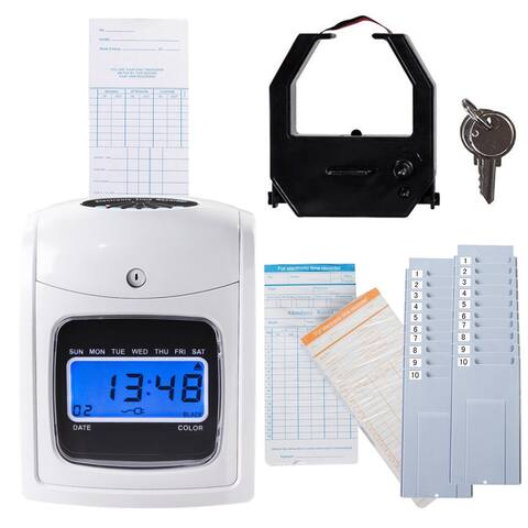 Costway Electronic Recorder Time Punch Clock LCD Display w Cards - White