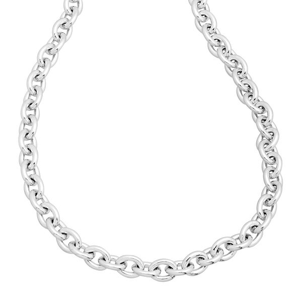 Men's Cable Chain Necklace in Sterling Silver - White