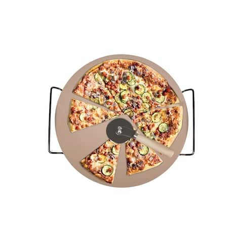 Pizza Stone, Rack and Cutter
