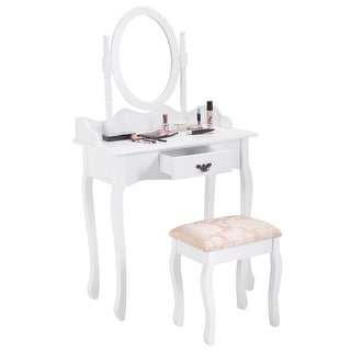 Costway Vanity Wood Makeup Dressing Table Stool Set Jewelry Desk W/ Drawer &Mirror White