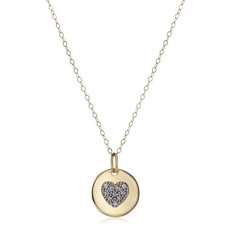 """Crystaluxe June Heart Disc Pendant with Lavender Swarovski Crystals in 14K Gold, 18"""" - Purple"""