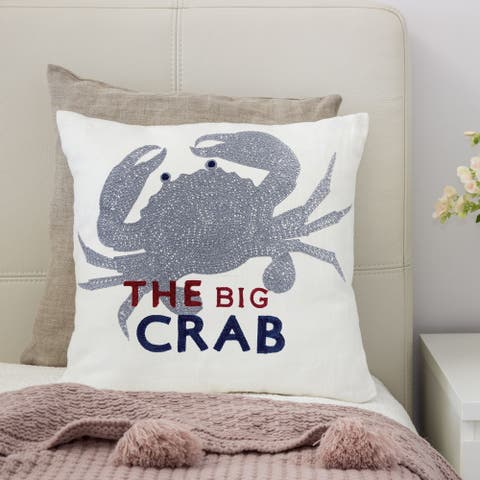 Porch & Den Stubblefield White and Grey Crab Accent Pillows (Set of 2)