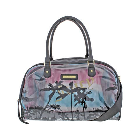 Juicy Couture Womens Crystal Clear Weekender Handbag Faux Leather 2-In-1 - Large