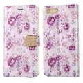 Insten Purple Flowers Leather Case Cover with Stand/ Wallet Flap Pouch/ Diamond For Apple iPhone 7 Plus - Thumbnail 2