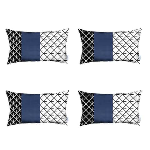 Faux Leather Printed Lumbar Pillow Cover 12''x 20'' (Set of 4)
