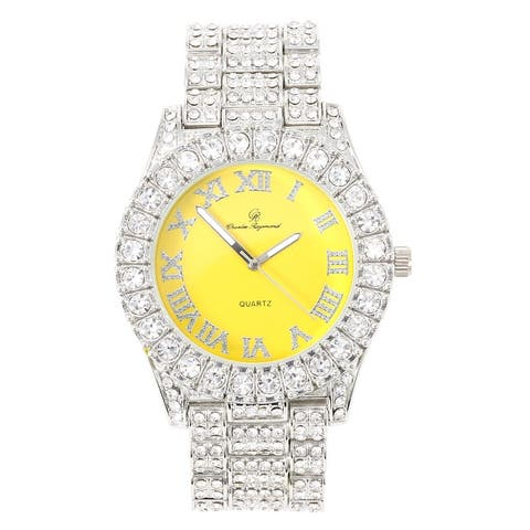 Mens Silver Big Rocks with Roman Numerals Fully Iced Out Watch - ST10327RN Metal Band
